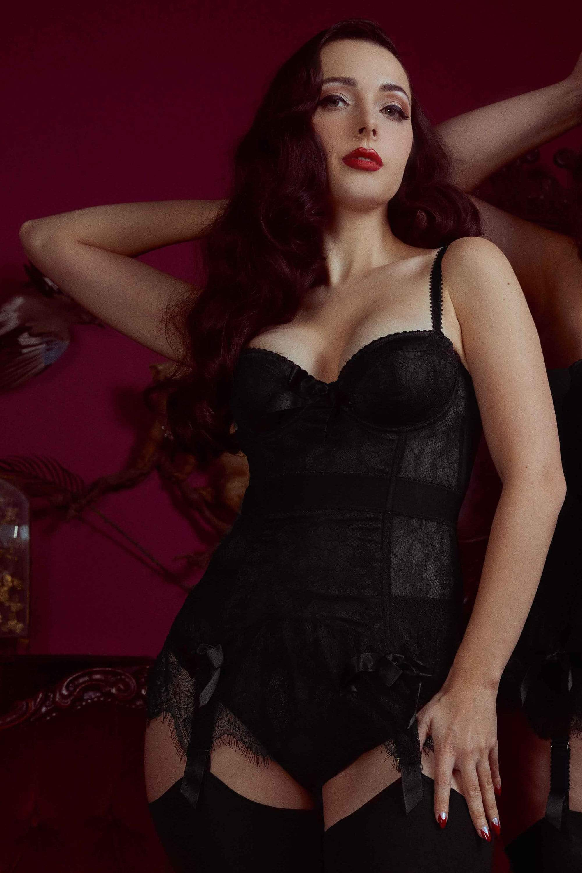Bettie Page Tempest Black Lace Basque with Bows 32F
