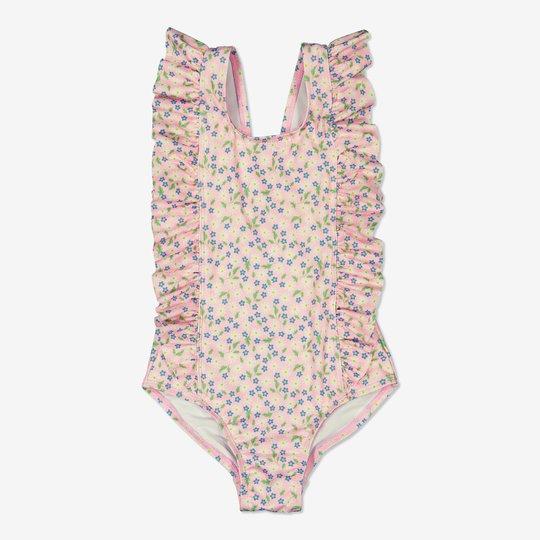 Blomstret badedrakt med volang rosa