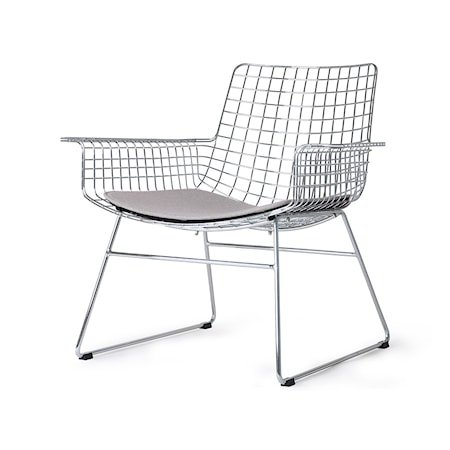 Metall Wire Lounge Chair Silver m Stolpute