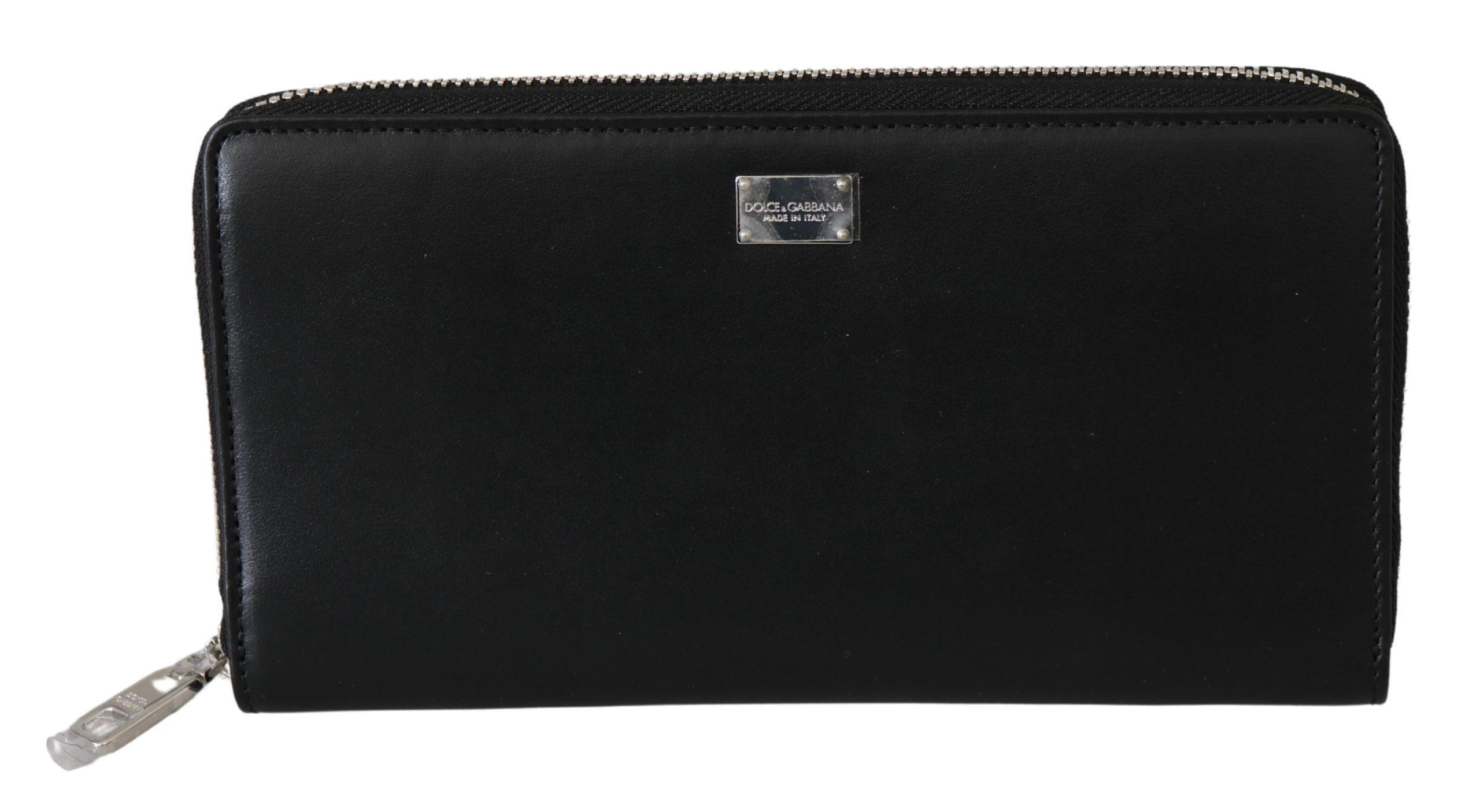 Dolce & Gabbana Men's Zip Around Continental Leather Wallet Black VAS9575