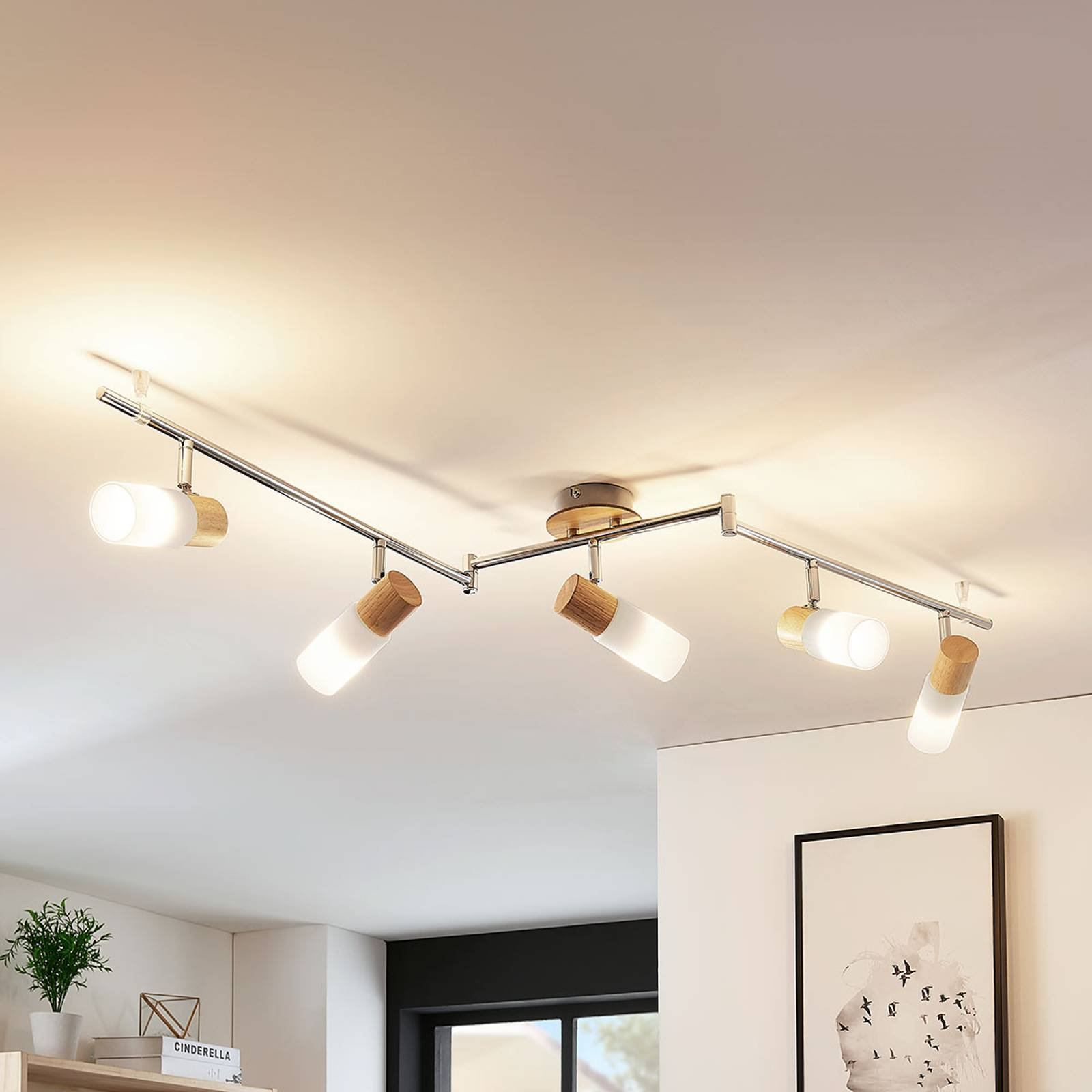 Vakker LED-takspot i tre Christoph, 5 lys