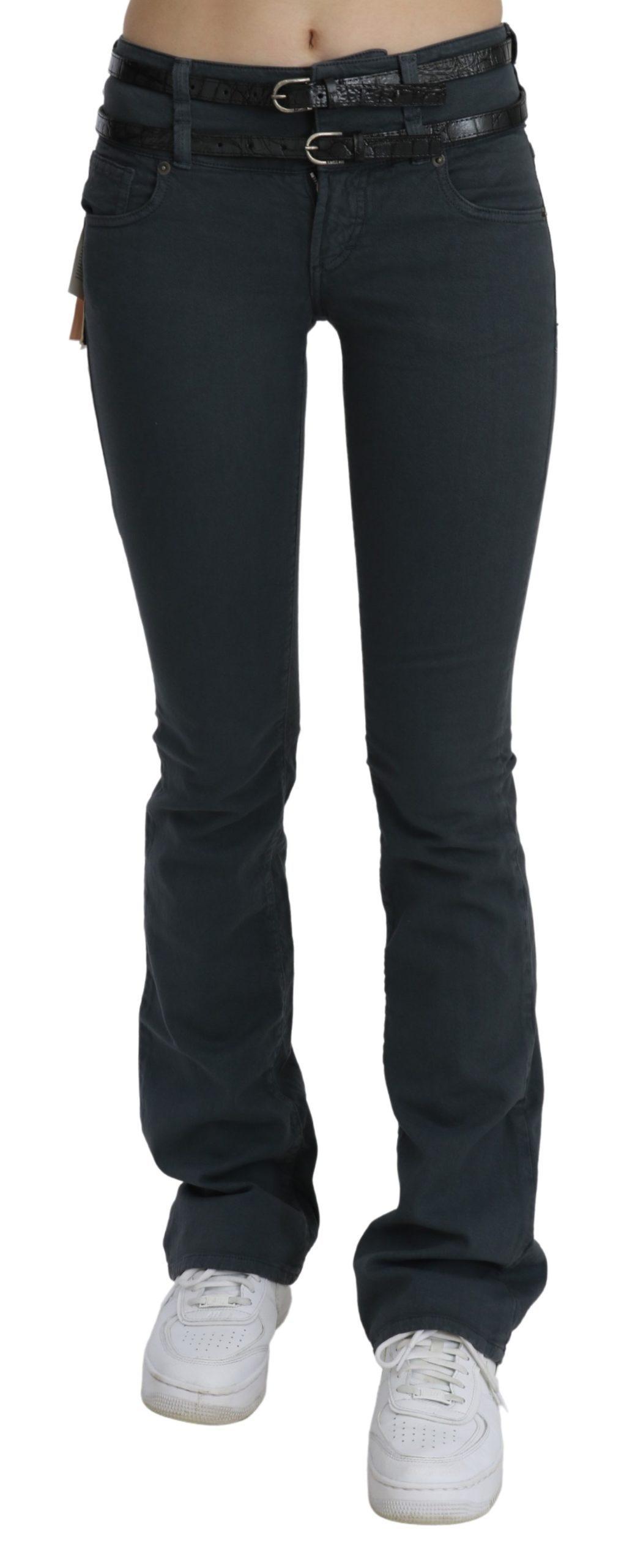 John Galliano Women's Mid Waist Slim Flared Denim Jeans Gray PAN70454 - W24