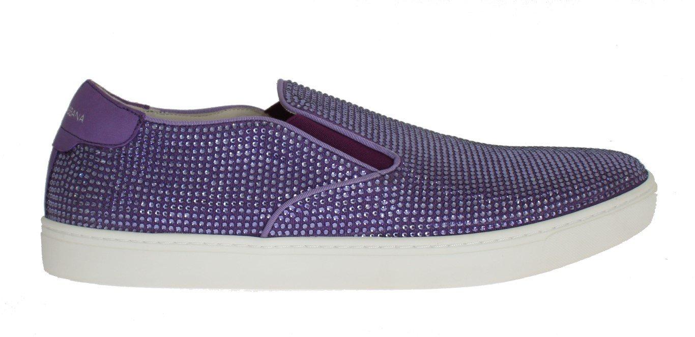 Dolce & Gabbana Men's Strass Canvas Logo Trainer Purple MV1093 - EU44/US11