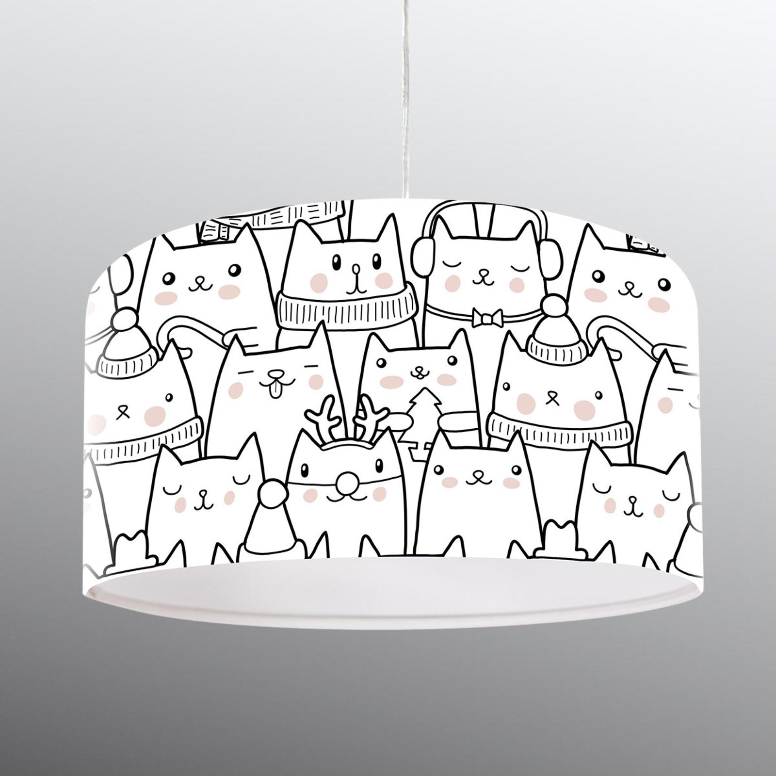 Kissamotiivilla painatettu riippuvalaisin Cats