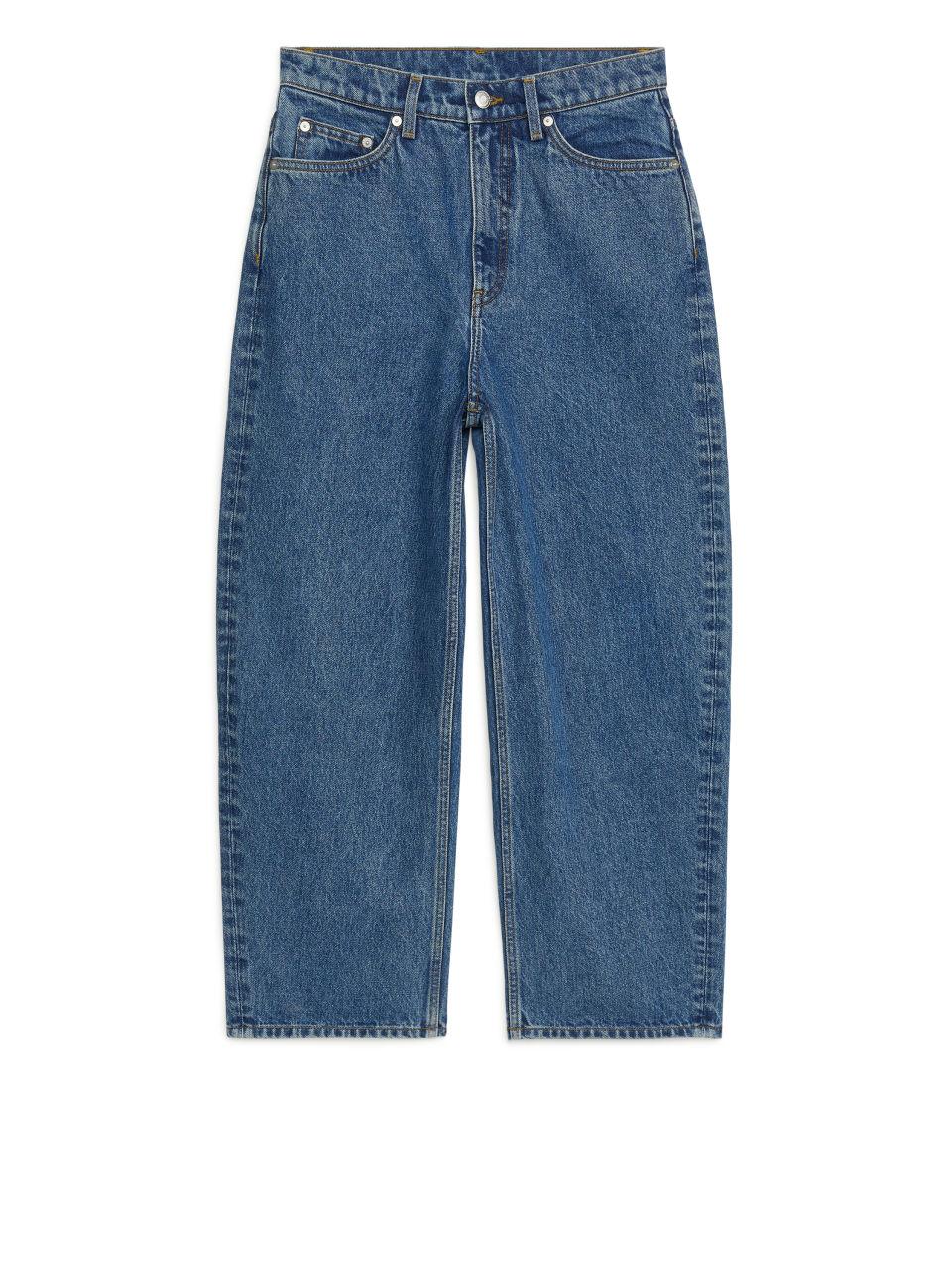 LOOSE Cropped Barrel Leg Jeans - Blue