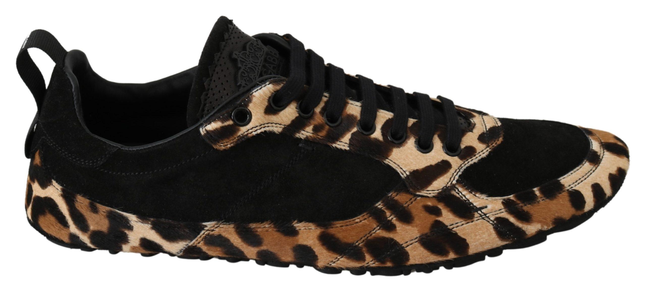 Dolce & Gabbana Men's Leather Leopard Trainer Black MV3042 - EU43/US10