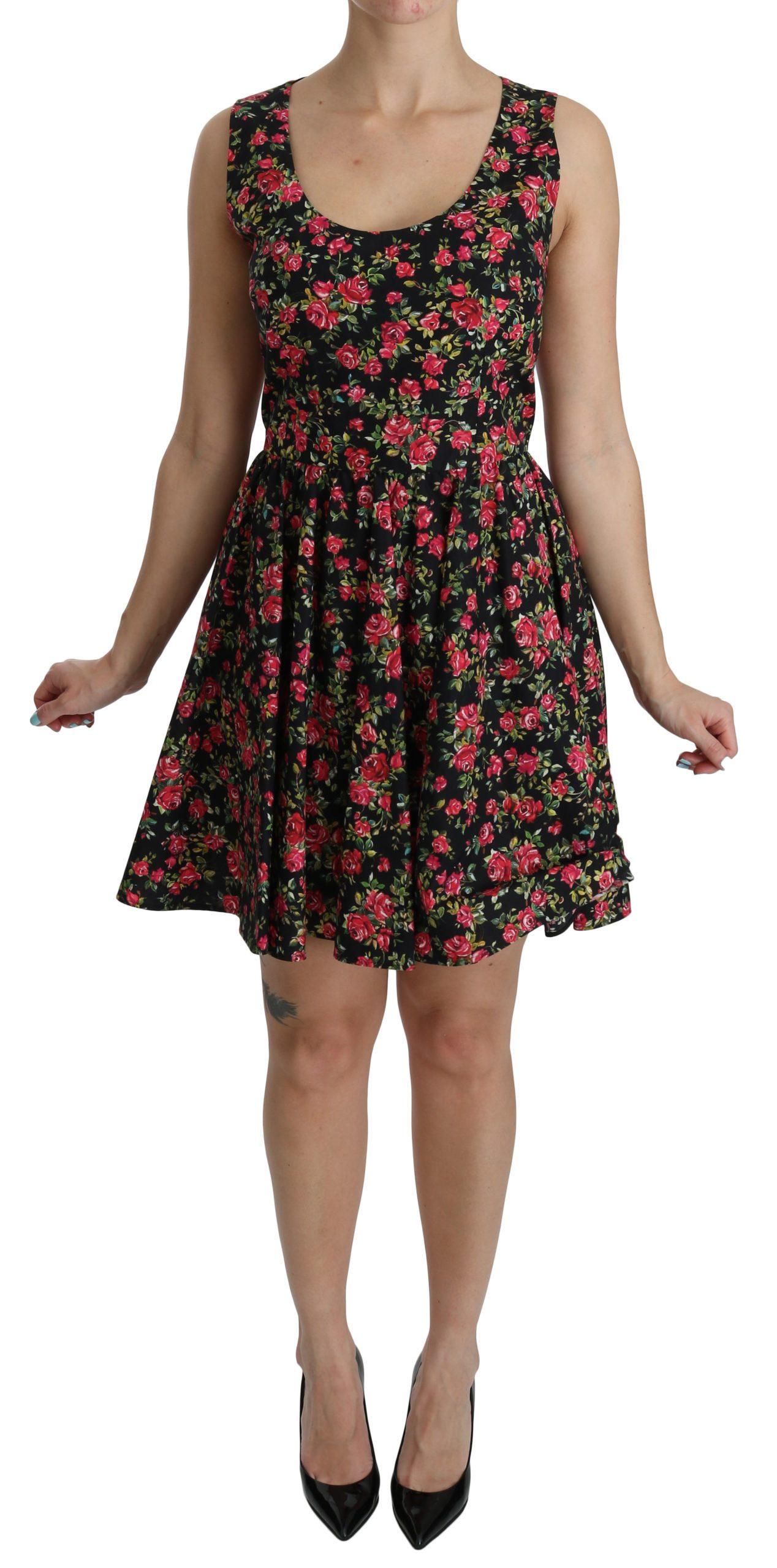 Dolce & Gabbana Women's Floral Sheath Sleeveless Mini Dress Black DR2092 - IT46|XL