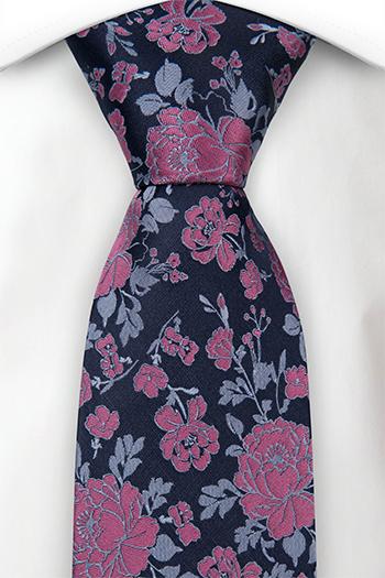 Silke Slips, Mørk marineblå sateng, rosa roser & lyseblå blader, Blå, Blomster