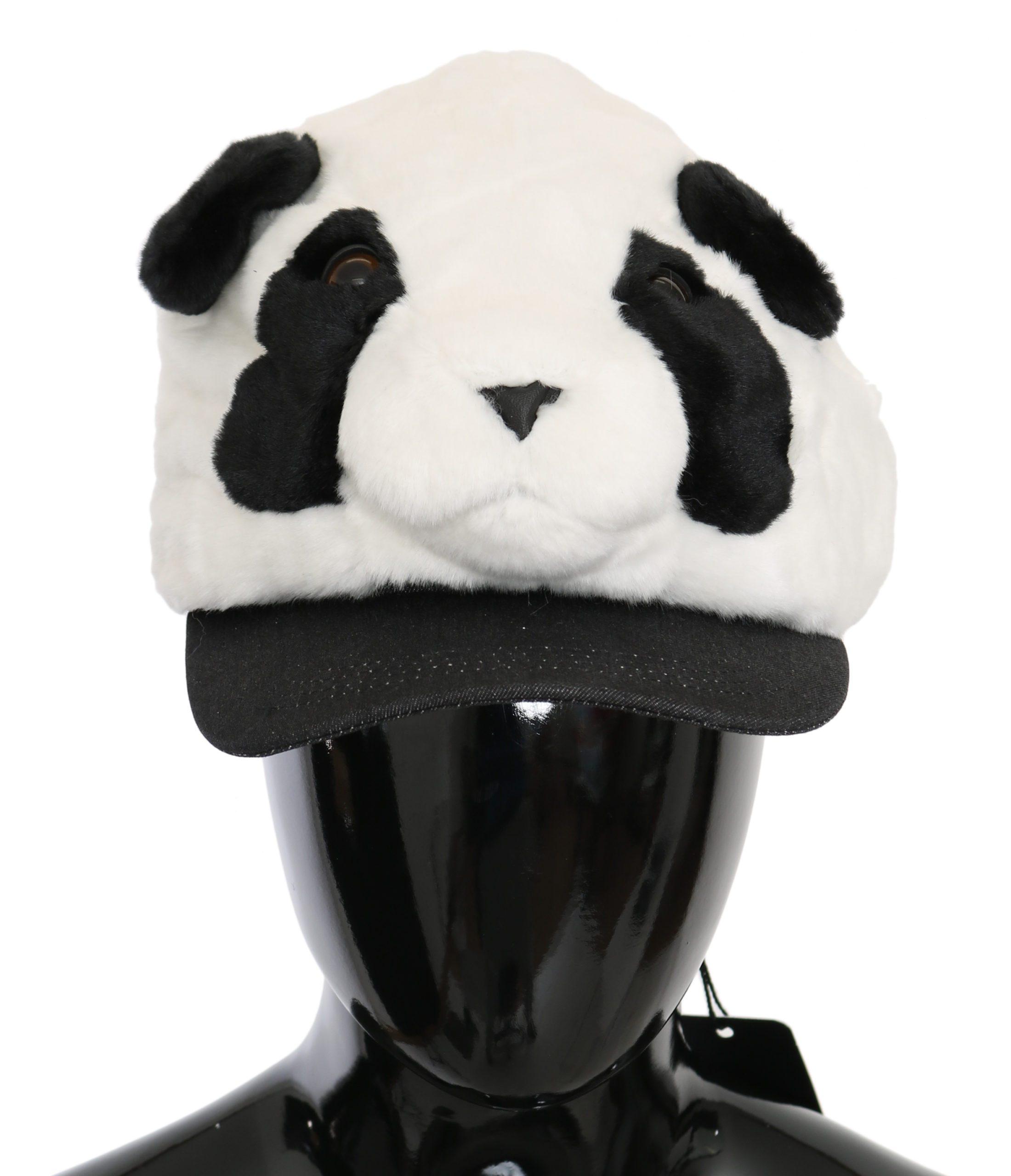 Dolce & Gabbana Women's Panda Fur Baseball Cotton Hat Multicolor HAT9085 - 57 cm|S