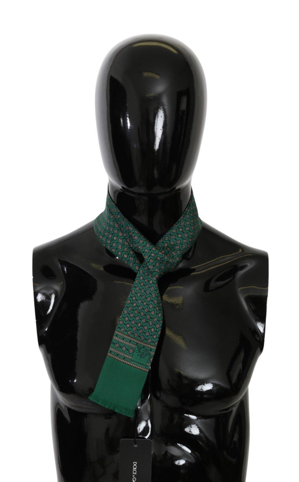 Dolce & Gabbana Men's Baroque Slim Wrap Silk Scarf Green MS5591