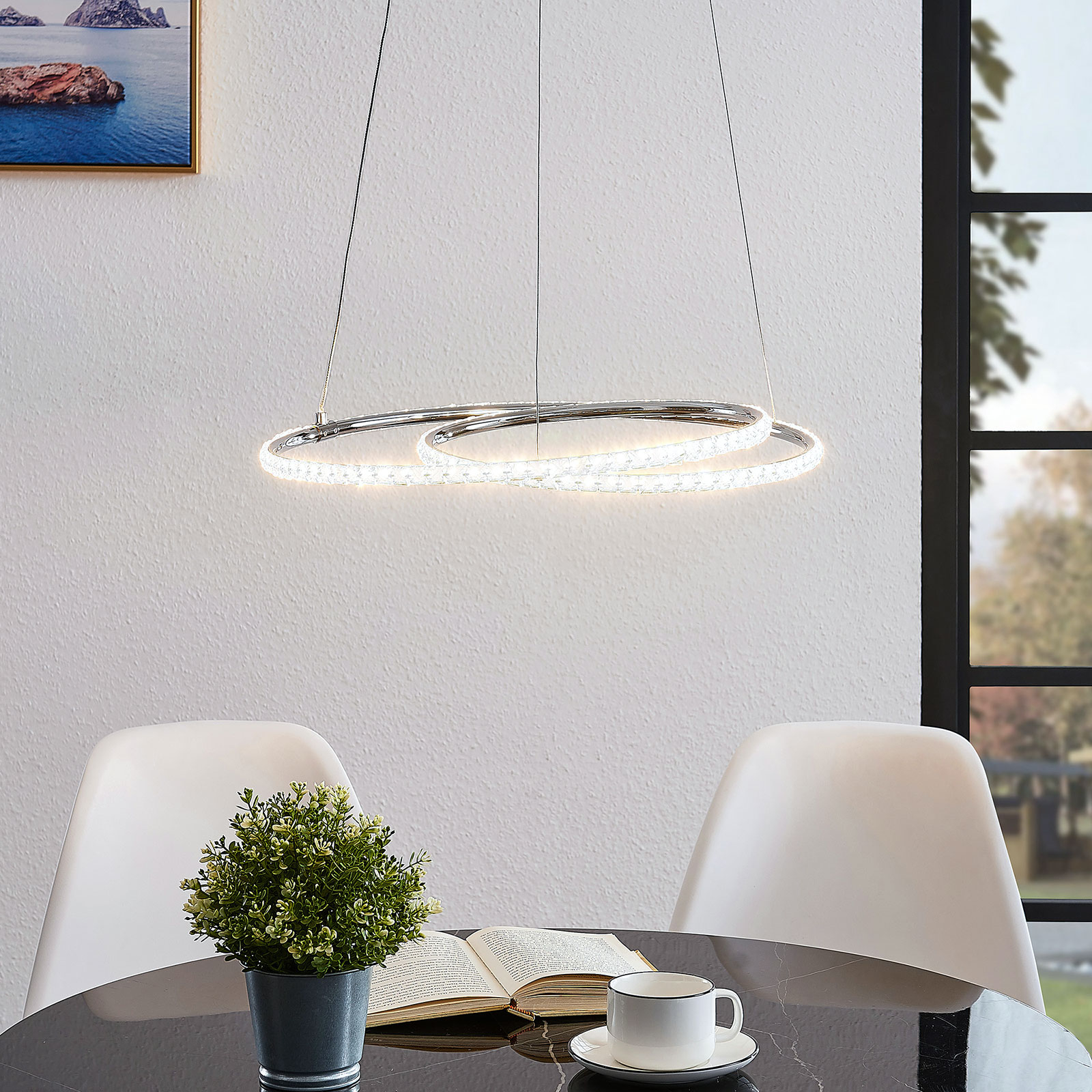 Lindby Lucy LED-riippuvalaisin, 45 cm, kristalli