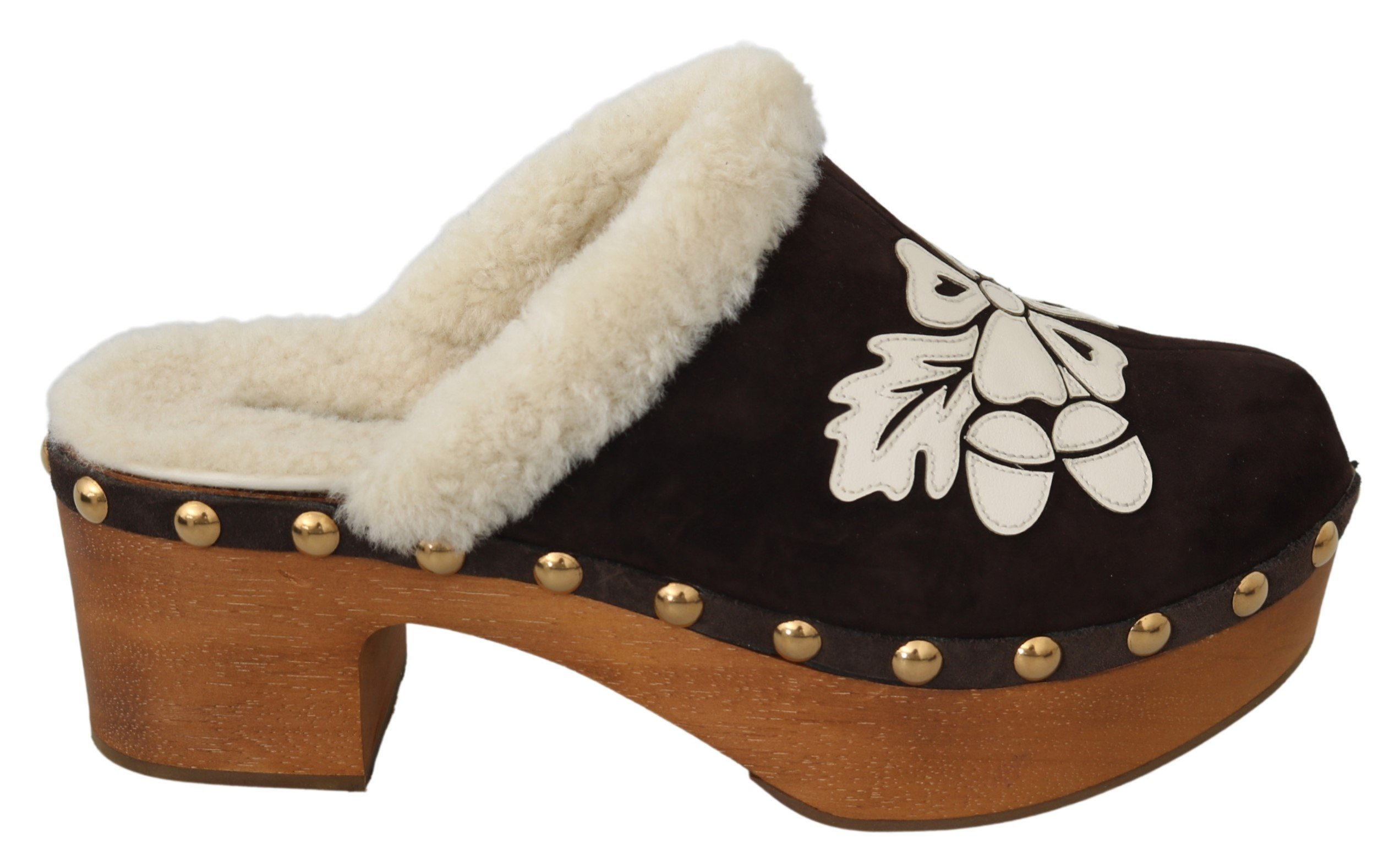 Dolce & Gabbana Women's Suede Shearling Sandals Brown LA7078 - EU39/US8.5
