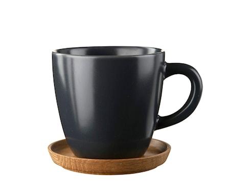 Kaffemugg 33 cl med träfat grafitgrå