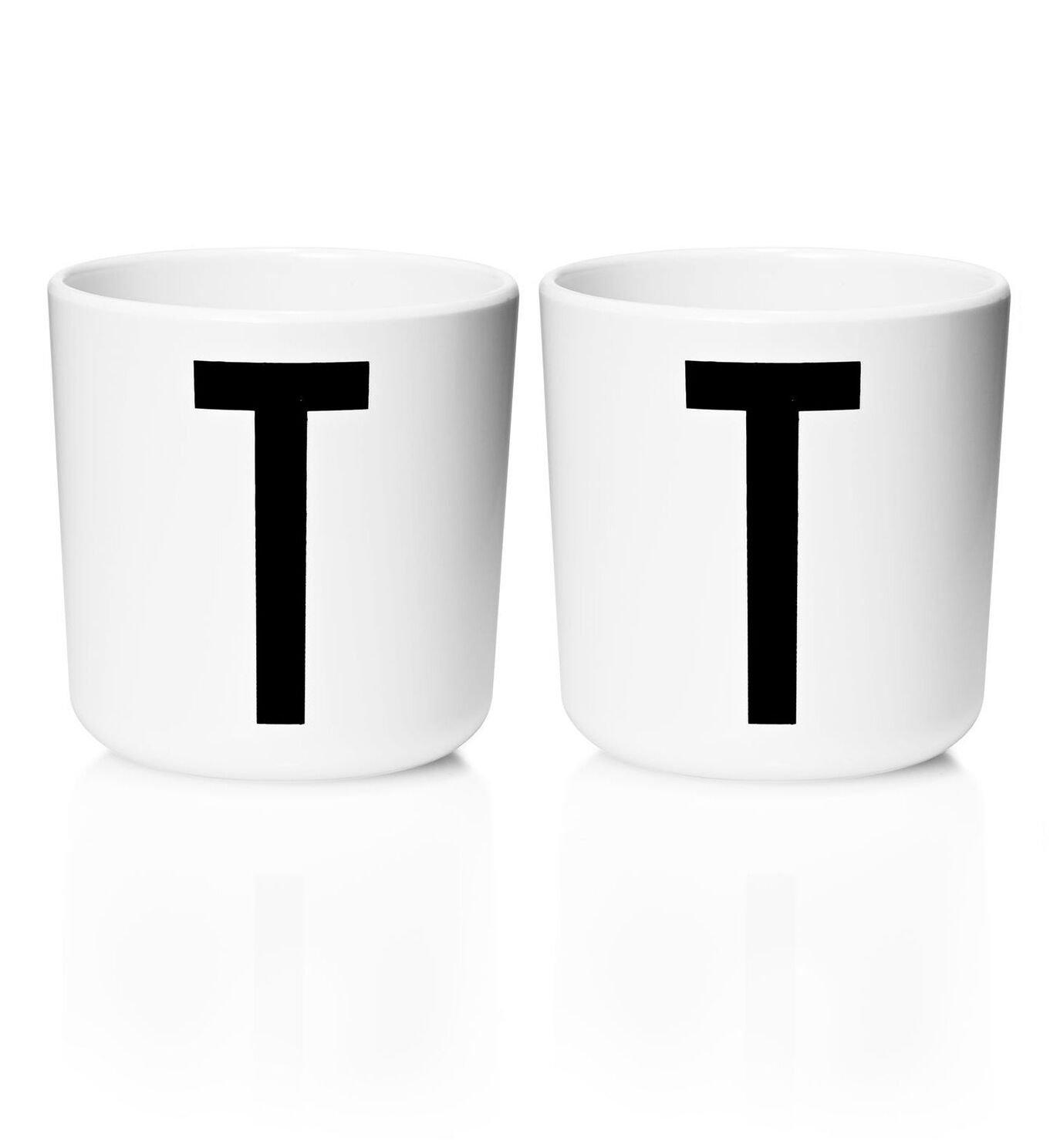 Design Letters - Personal Melamine Cup T - 2 pcs - White (Bundle)