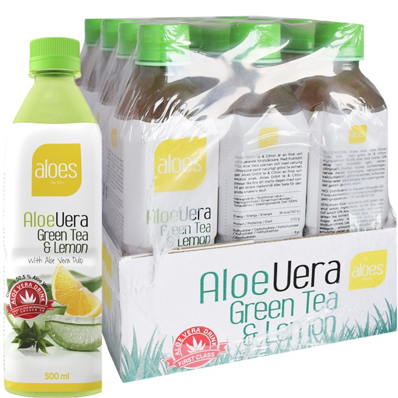 """Dryck """"Aloe Vera Green Tea & Lemon"""" 12 x 500ml - 56% rabatt"""
