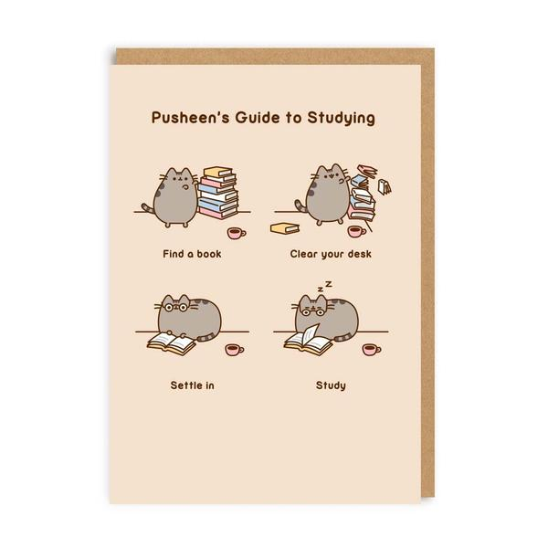 Pusheen's Guide To Studying Greeting Card
