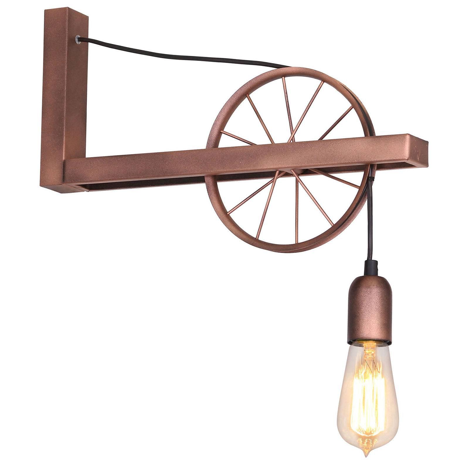 834 vegglampe med hjul, 1 lyskilde, kobber