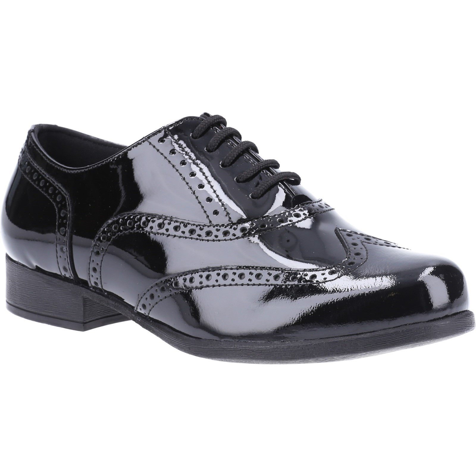 Hush Puppies Kid's Kada Junior School Brogue Shoe Patent Black 32597 - Patent Black 13