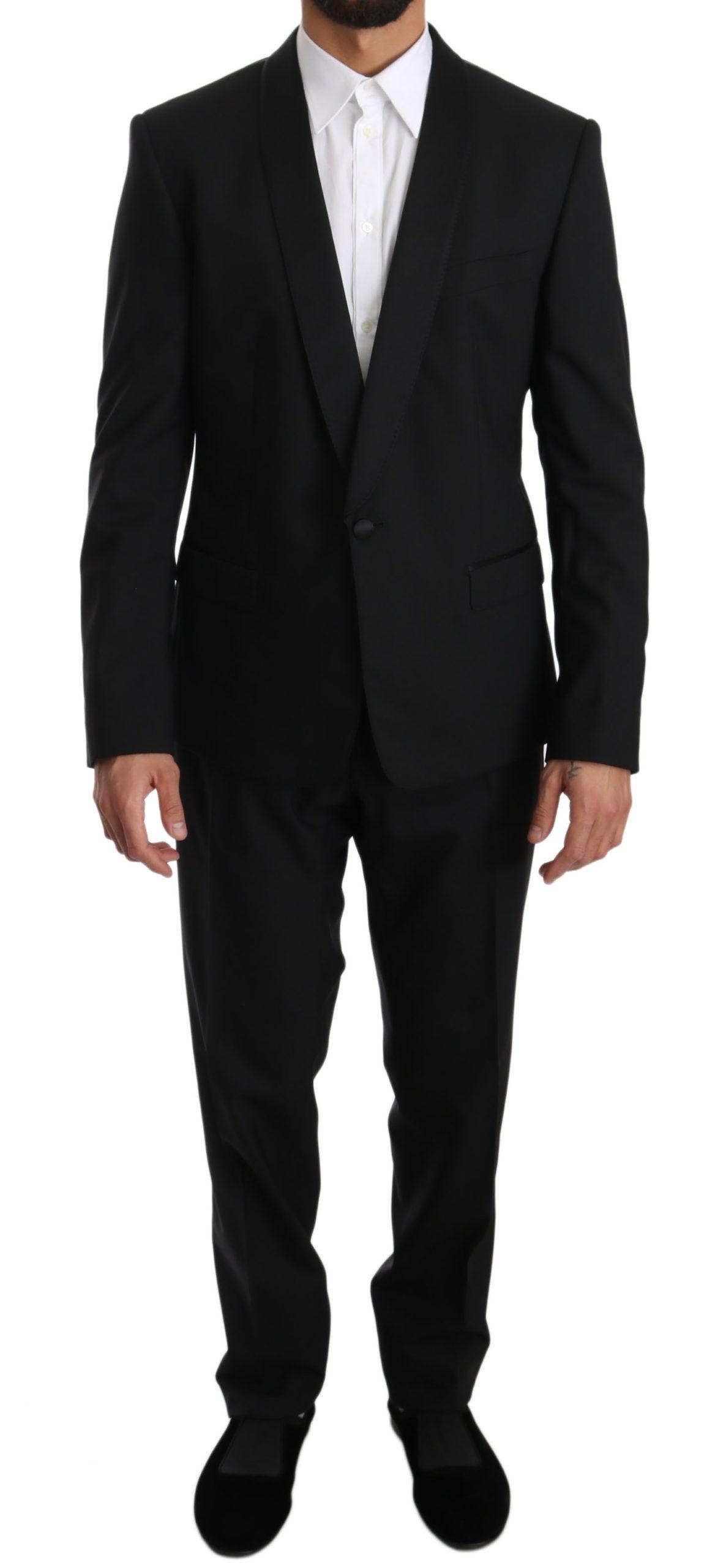Dolce & Gabbana Men's Wool One Button Slim Martini Suit Black KOS1300 - IT52   L
