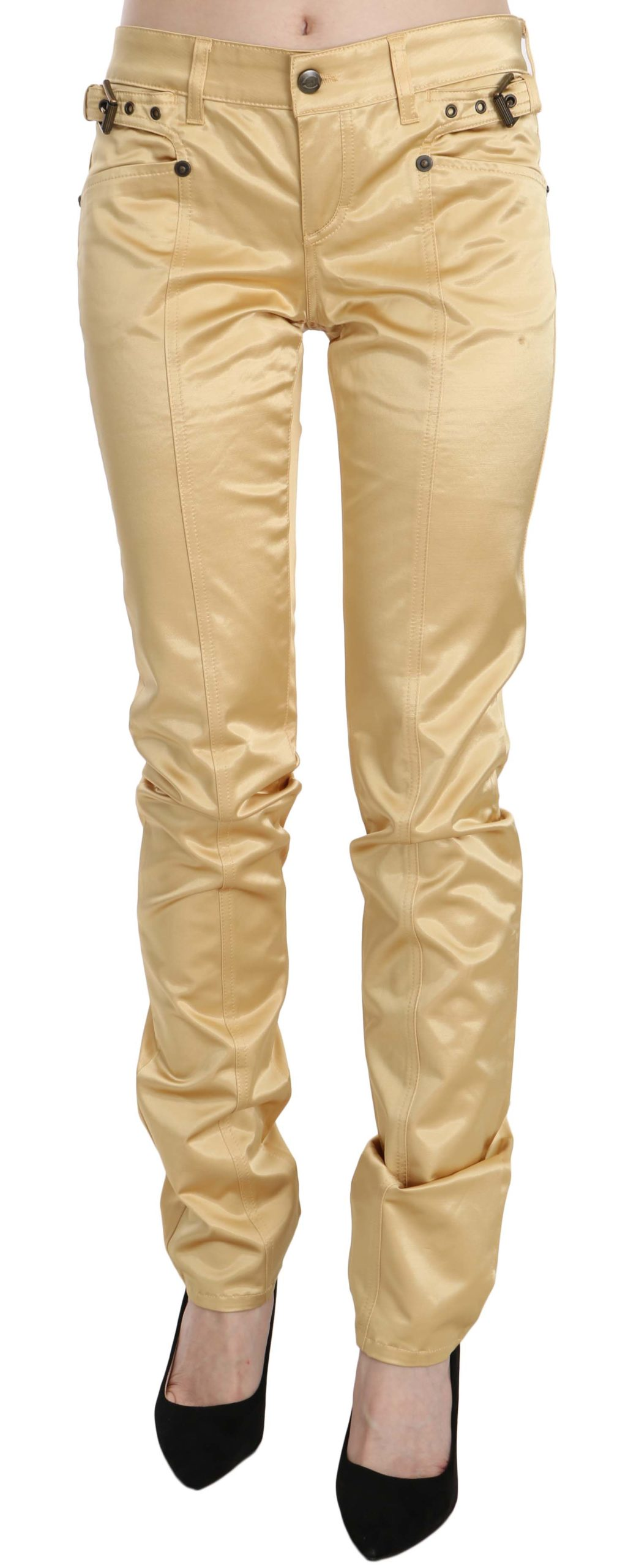 Just Cavalli Women's Mid Waist Slim Fit Trouser Cream PAN70346 - IT42 M