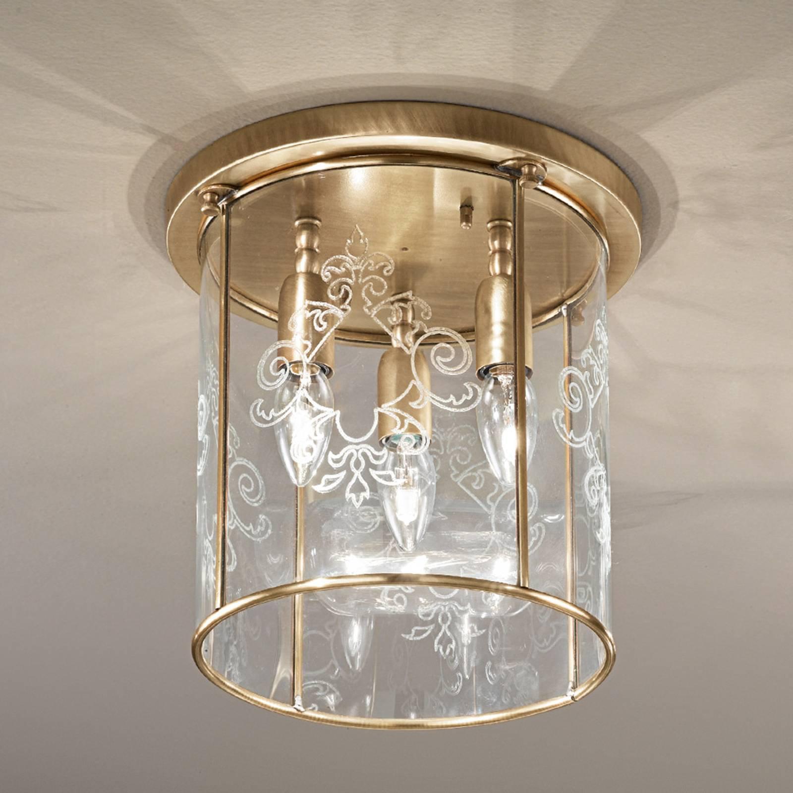 Bronsert taklampe Greta, 3 lyskilder