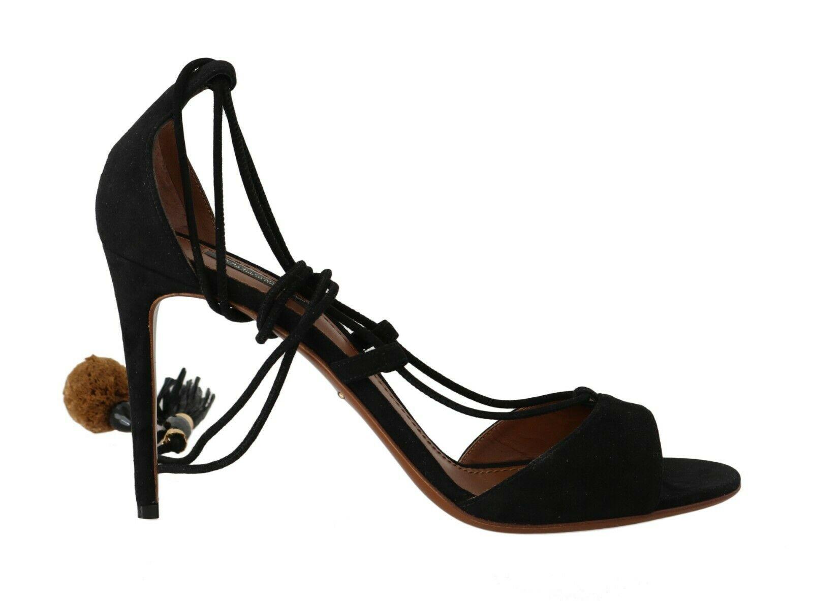 Dolce & Gabbana Women's Suede Tassel Strap Sandals Black LA5611 - EU36.5/US6
