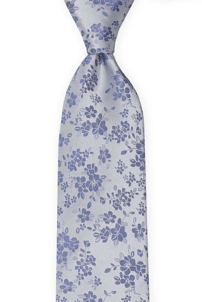 Silke Slips, Blå blomster på sølvfarget, puldderblå base, Blå, Blomstermotiv
