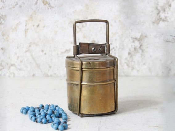 Small Brass Tiffin Box Set Small