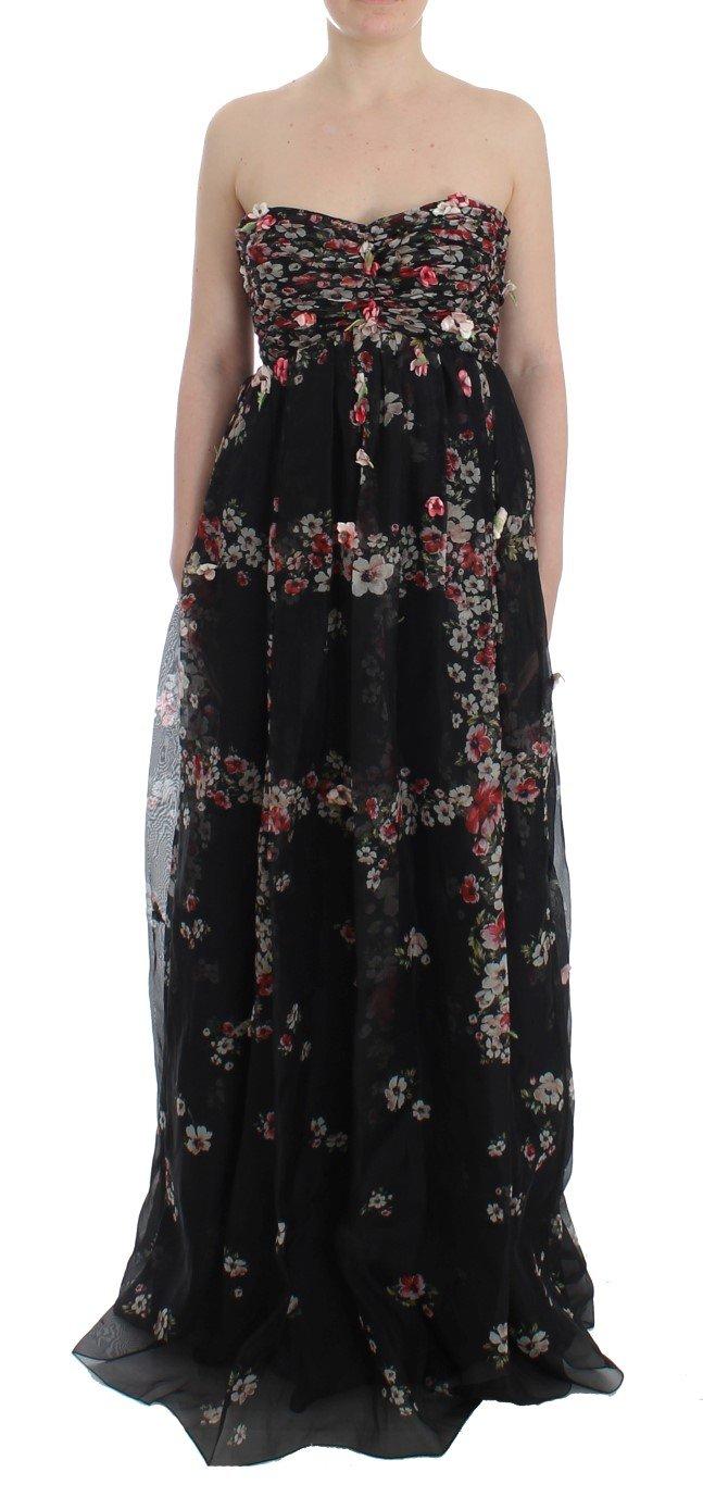 Dolce & Gabbana Women's Floral Print Silk Dress Black SIG12489 - IT42 M