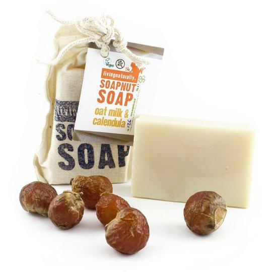 Living Naturally Oat Milk & Calendula Soapnut Soap Bar, 90 g