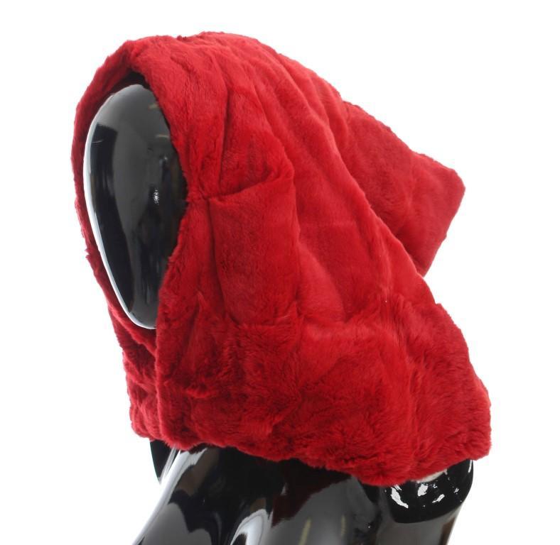 Dolce & Gabbana Women's Weasel Fur Crochet Hood Scarf Hat Red MS808