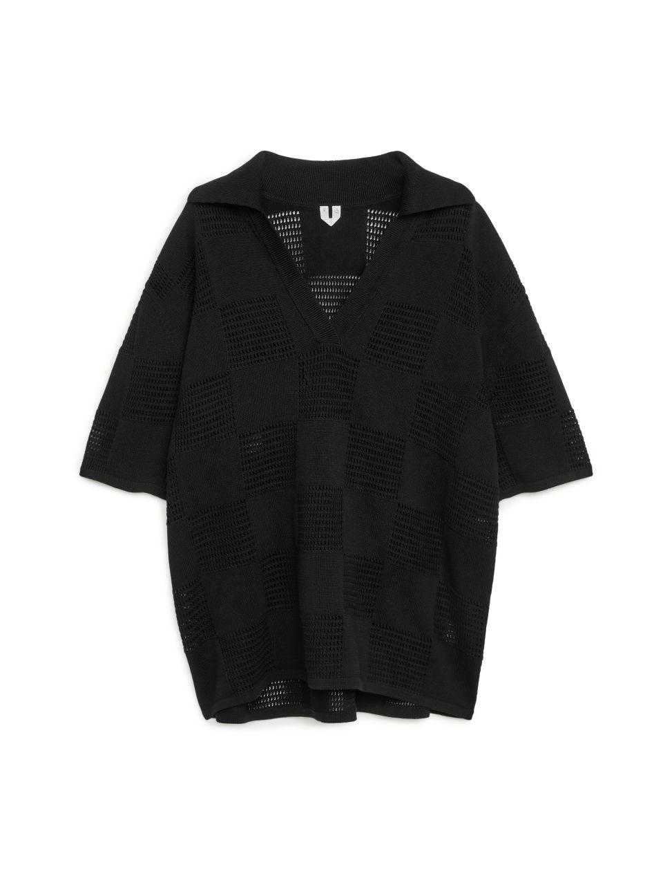 Fine Knit Cotton Tunic - Black