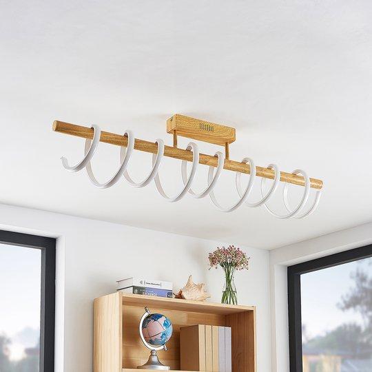 Lucande Milora -LED-kattovalaisin 100 cm, tammi