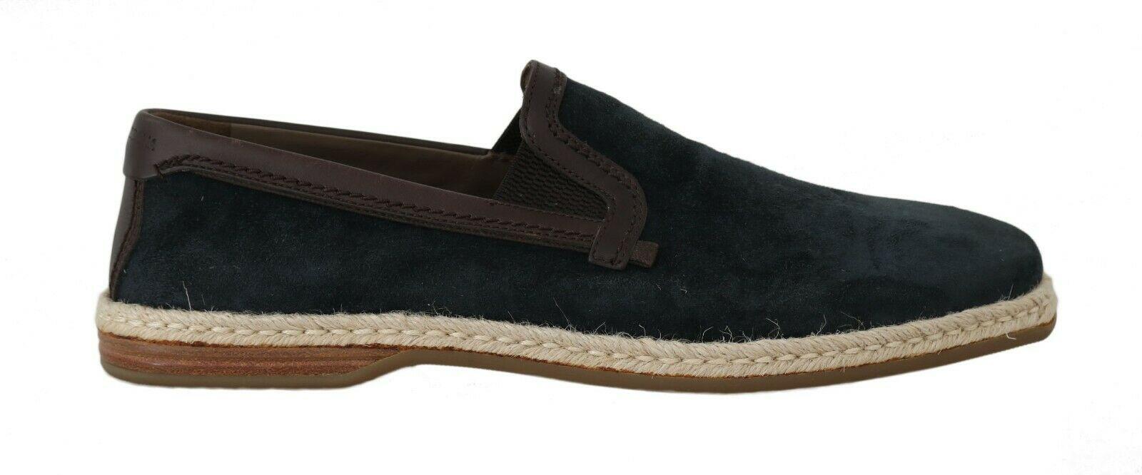 Dolce & Gabbana Men's Leather Suede Casual Loafers Blue MV2179 - EU40/US7