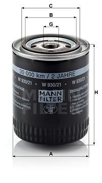 Öljynsuodatin MANN-FILTER W 930/21