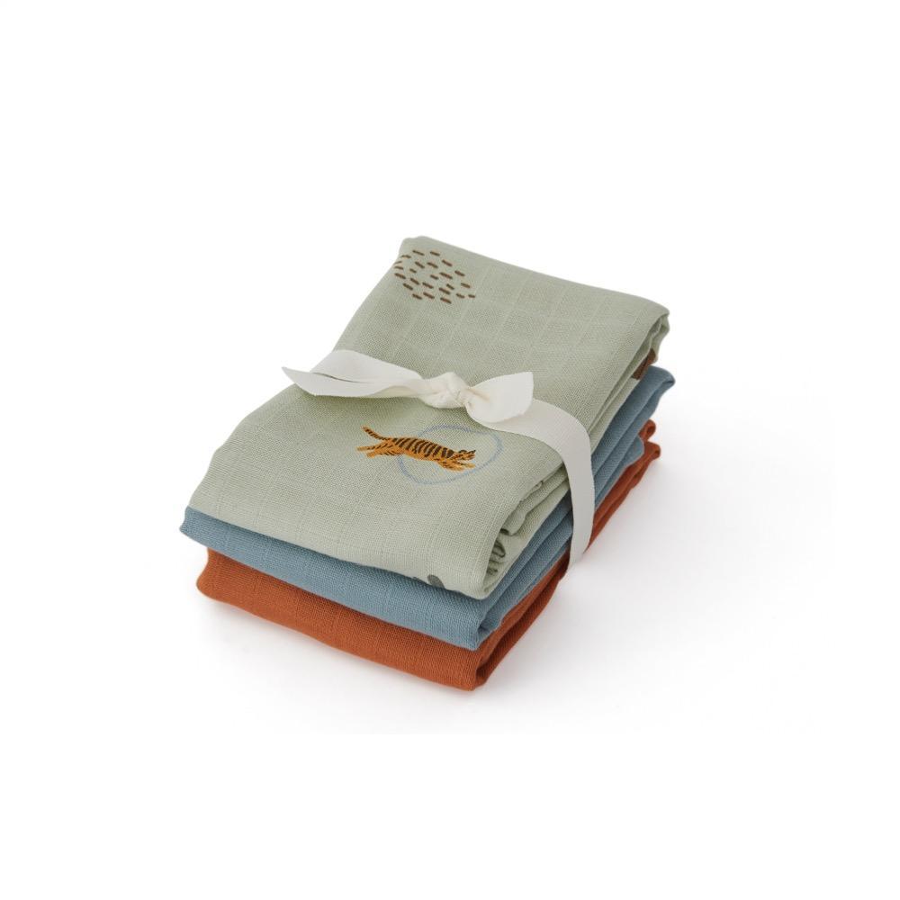 OYOY Mini - Organic Muslin Cloth Square, 3 pc - Tiger