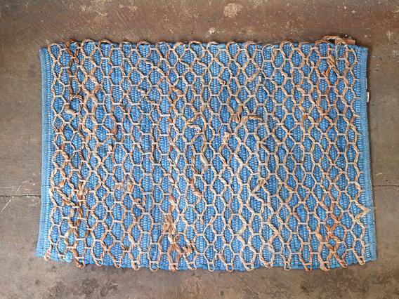 Blue Tile Design Cotton Rug
