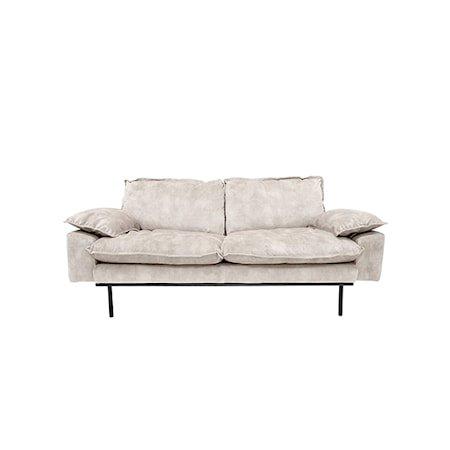 Retro Sofa Fløyel 2-seter Kremhvit