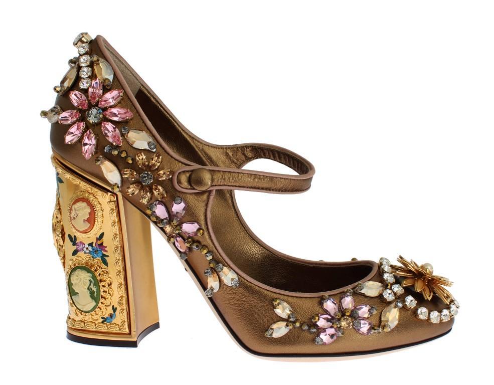 Dolce & Gabbana Women's Leather Crystal Mary Janes Heel Gold SIG19204 - EU38.5/US8