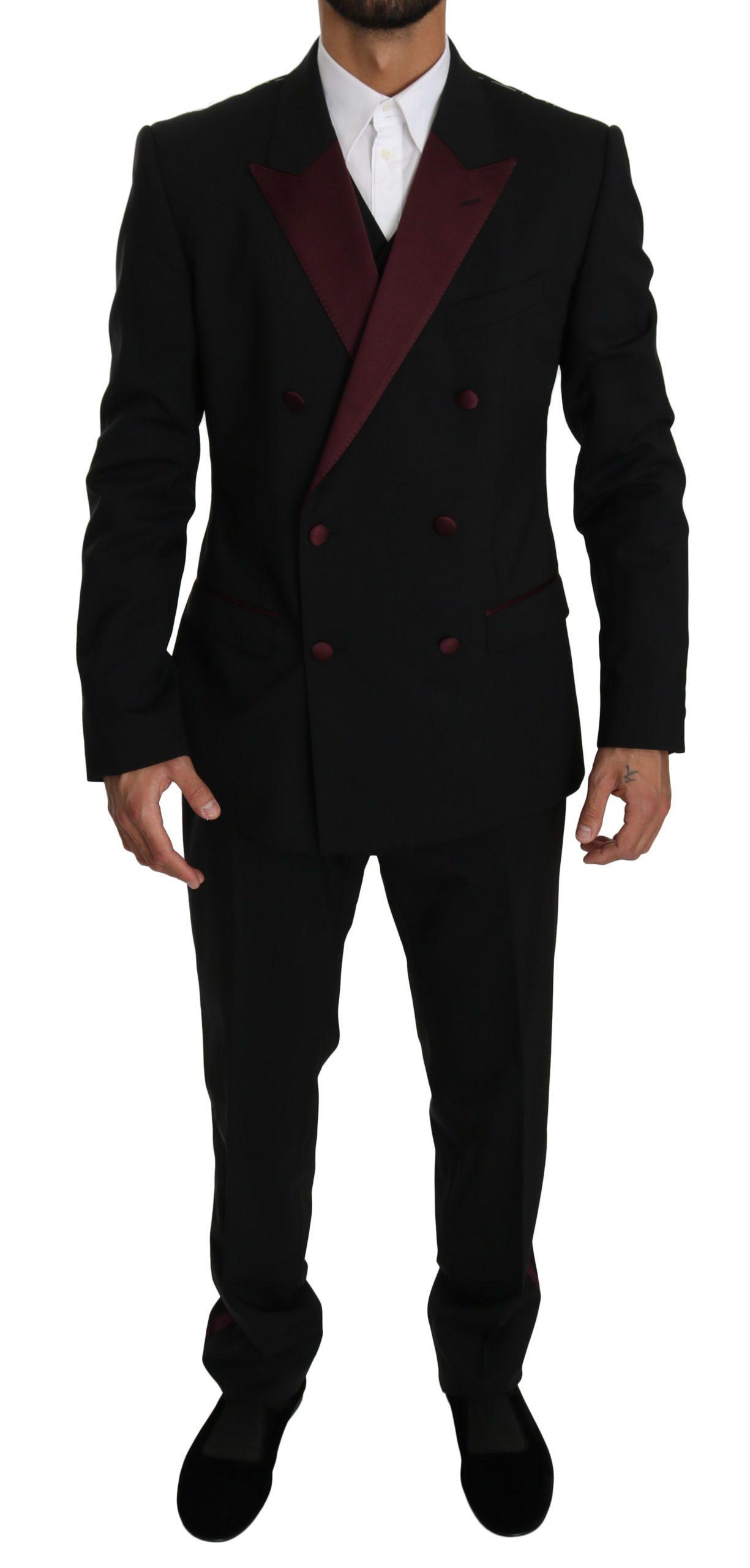 Dolce & Gabbana Men's Double Breasted 3 Piece MARTINI Suit Black KOS1607 - IT50 | L