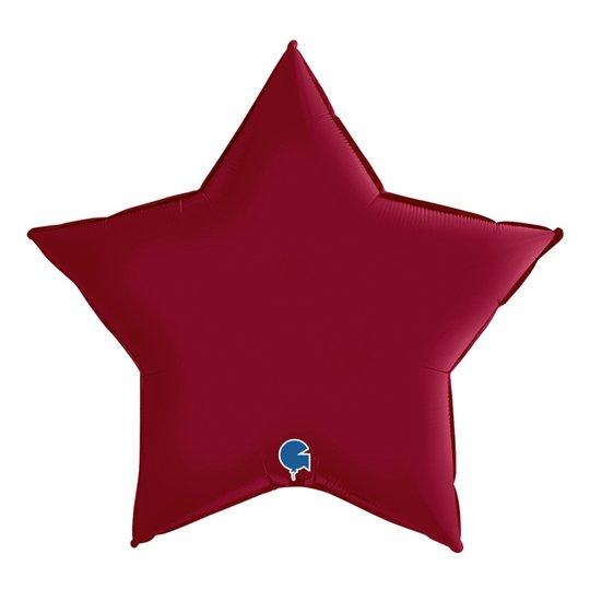Folieballong Stjärna Satin Cherry - 45 cm