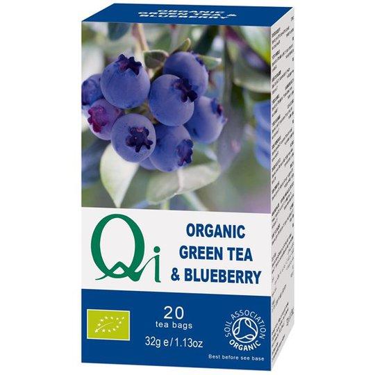 Qi Teas Grönt Te med Blåbär, 20 påsar