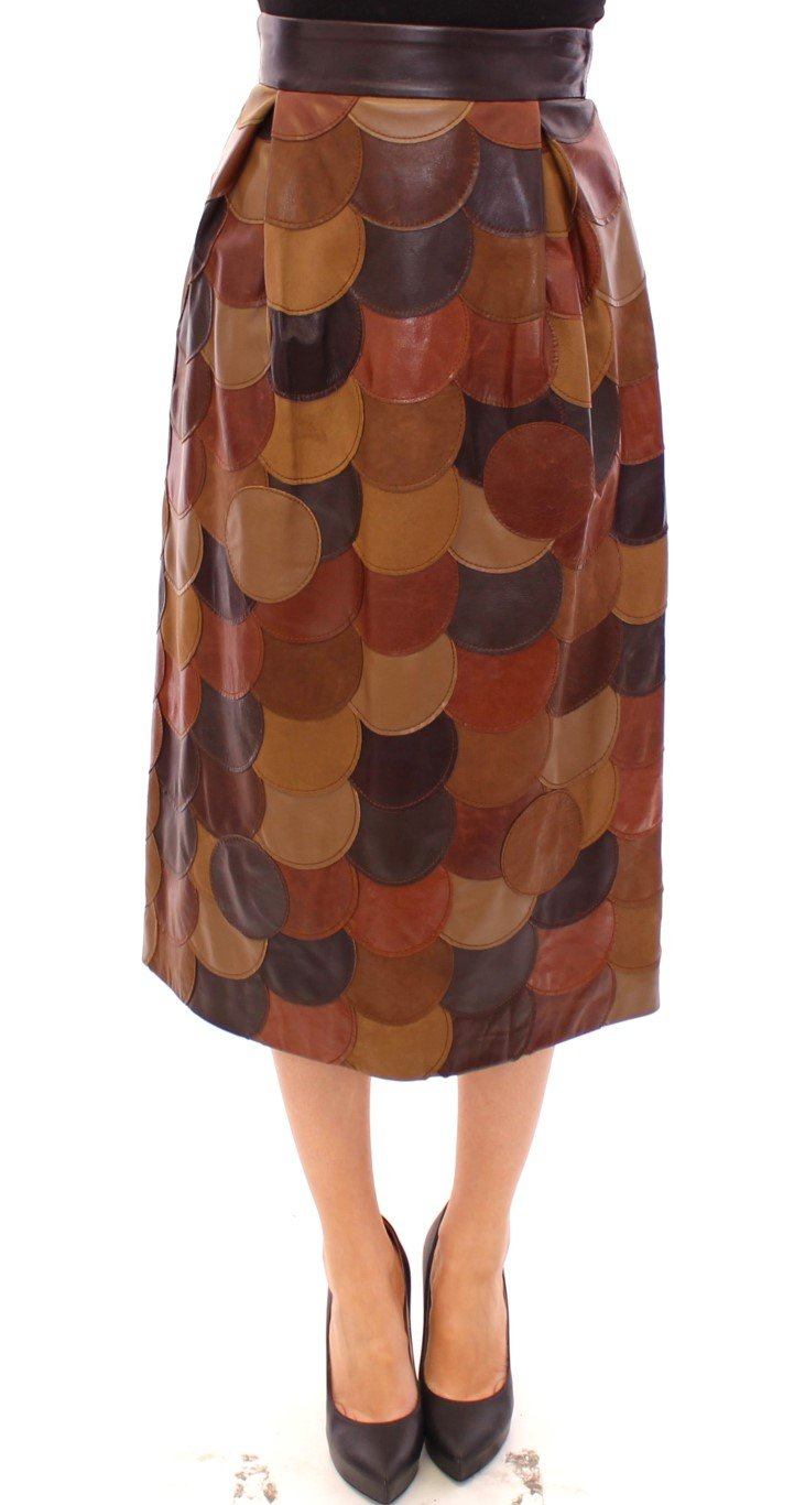 Dolce & Gabbana Women's Patchwork Leather Straight Skirt Brown GSS11479 - IT40|S