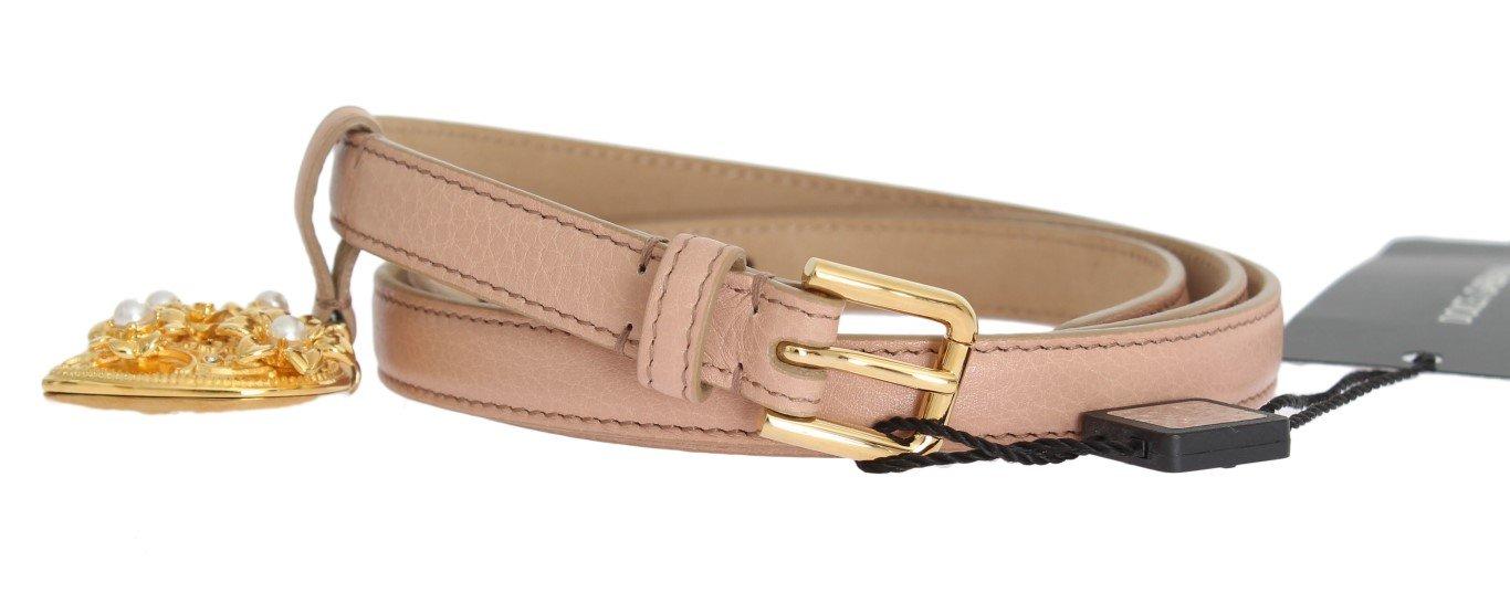 Dolce & Gabbana Women's Leather MAMMA Heart Belt Beige BEL10359 - 90 cm / 36 Inches