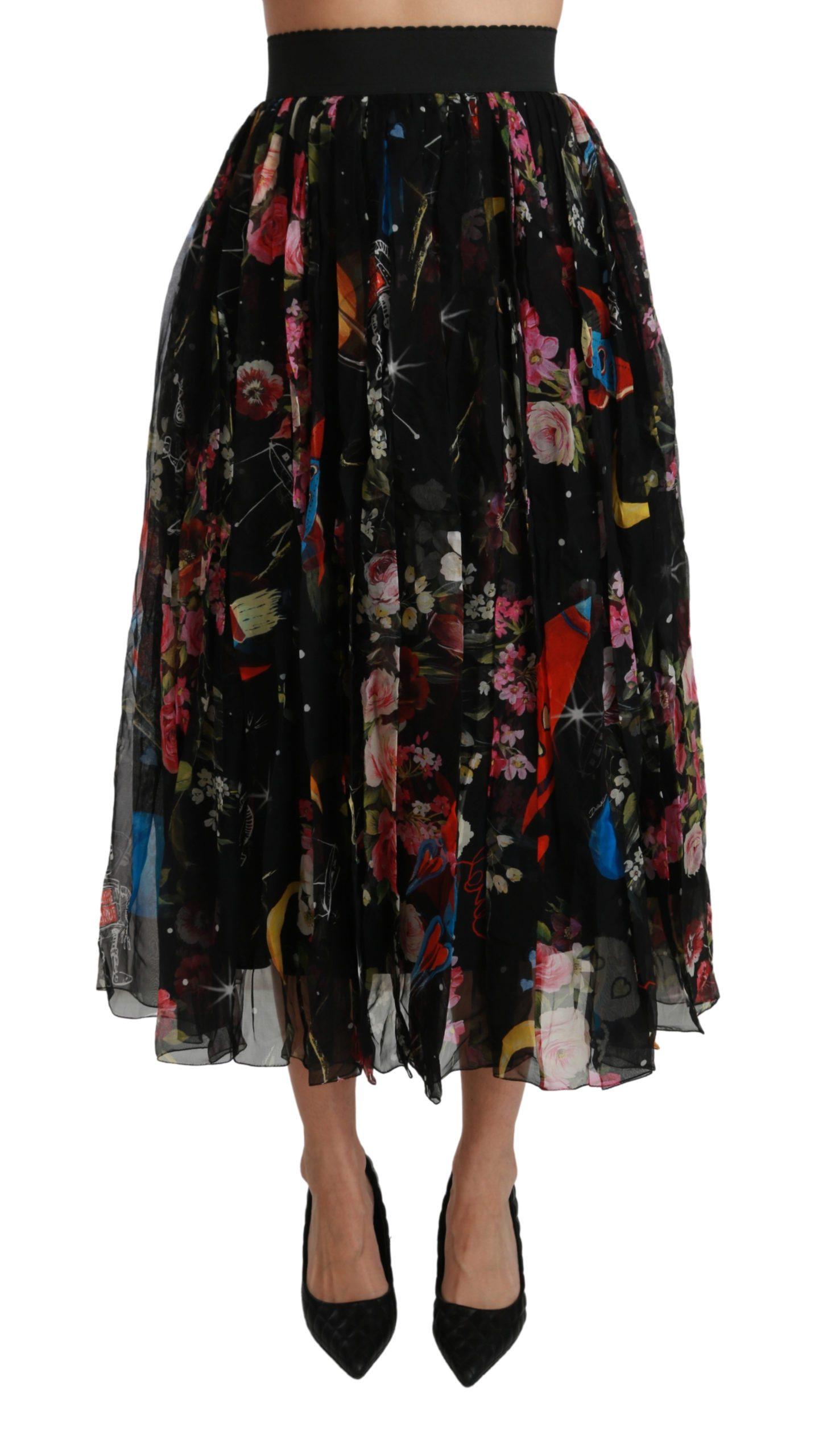 Dolce & Gabbana Women's Floral High Waist Pleated Skirt Black SKI1405 - IT44 L