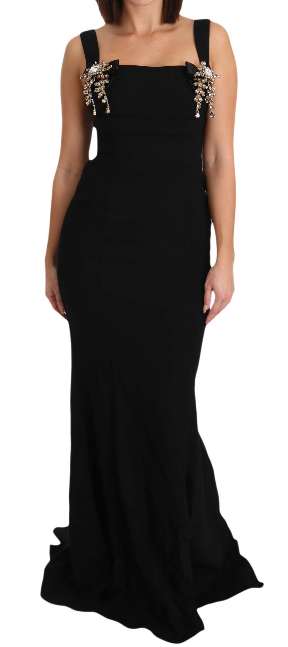 Dolce & Gabbana Women's Stretch Crystal Fit Flare Gown Dress Black DR1591 - IT40|S