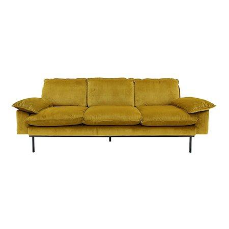 Retro Sofa Fløyel 3-seter Oransje/Gul