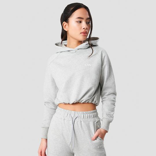 Adjustable Cropped Hoodie, Light Grey