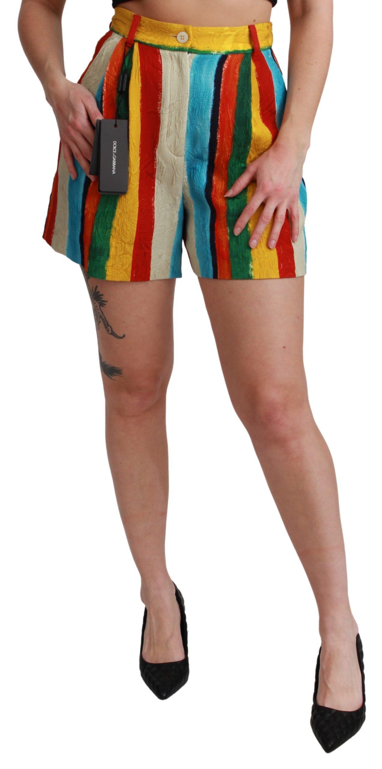 Dolce & Gabbana Women's Riga Pittorica Mini Shorts Multicolor SKI1450 - IT38 XS