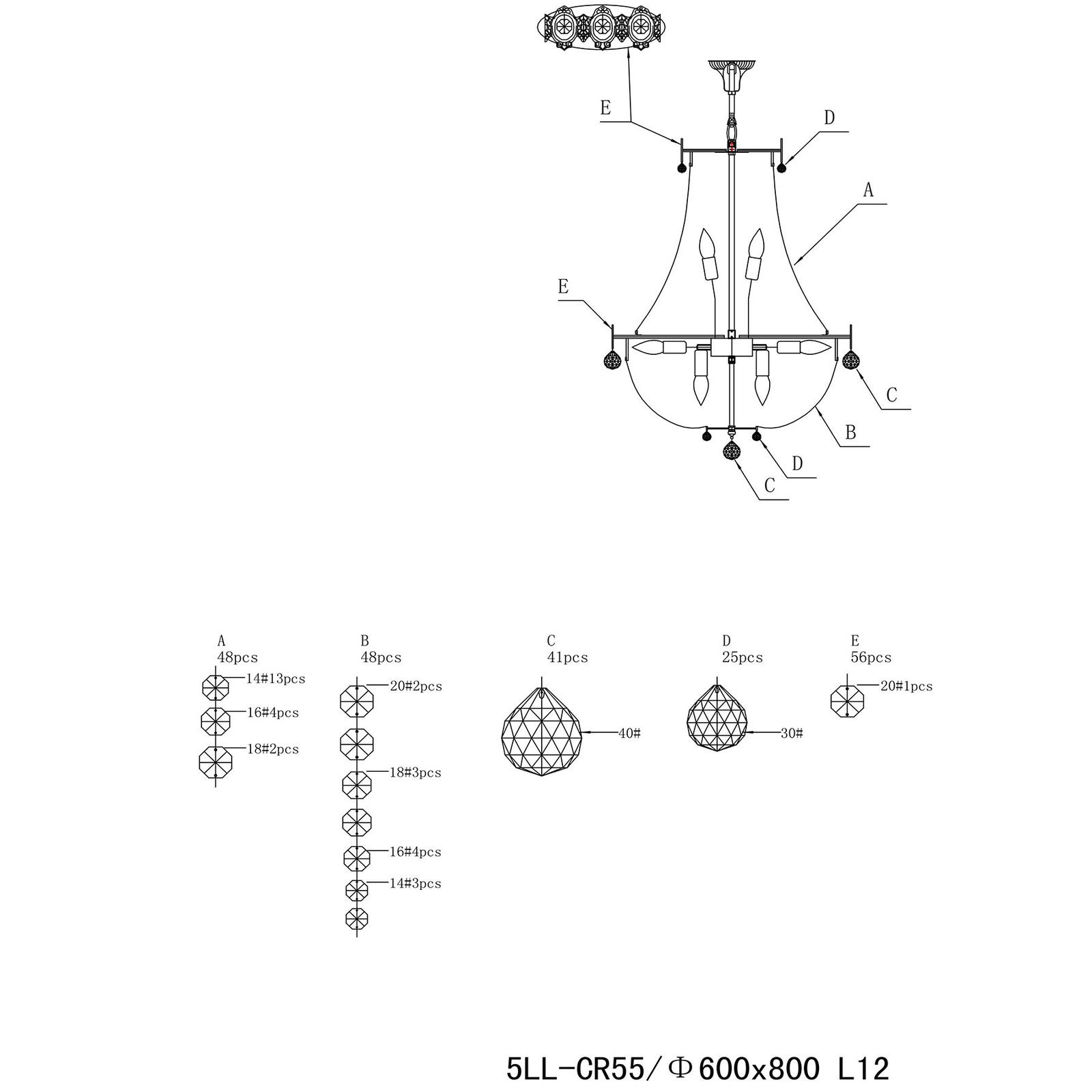Kattokruunu CR55, 12-lamppuinen, lasia